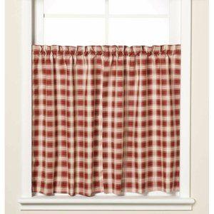 NWT Versa-Ties Window Curtain Tier Red Checker